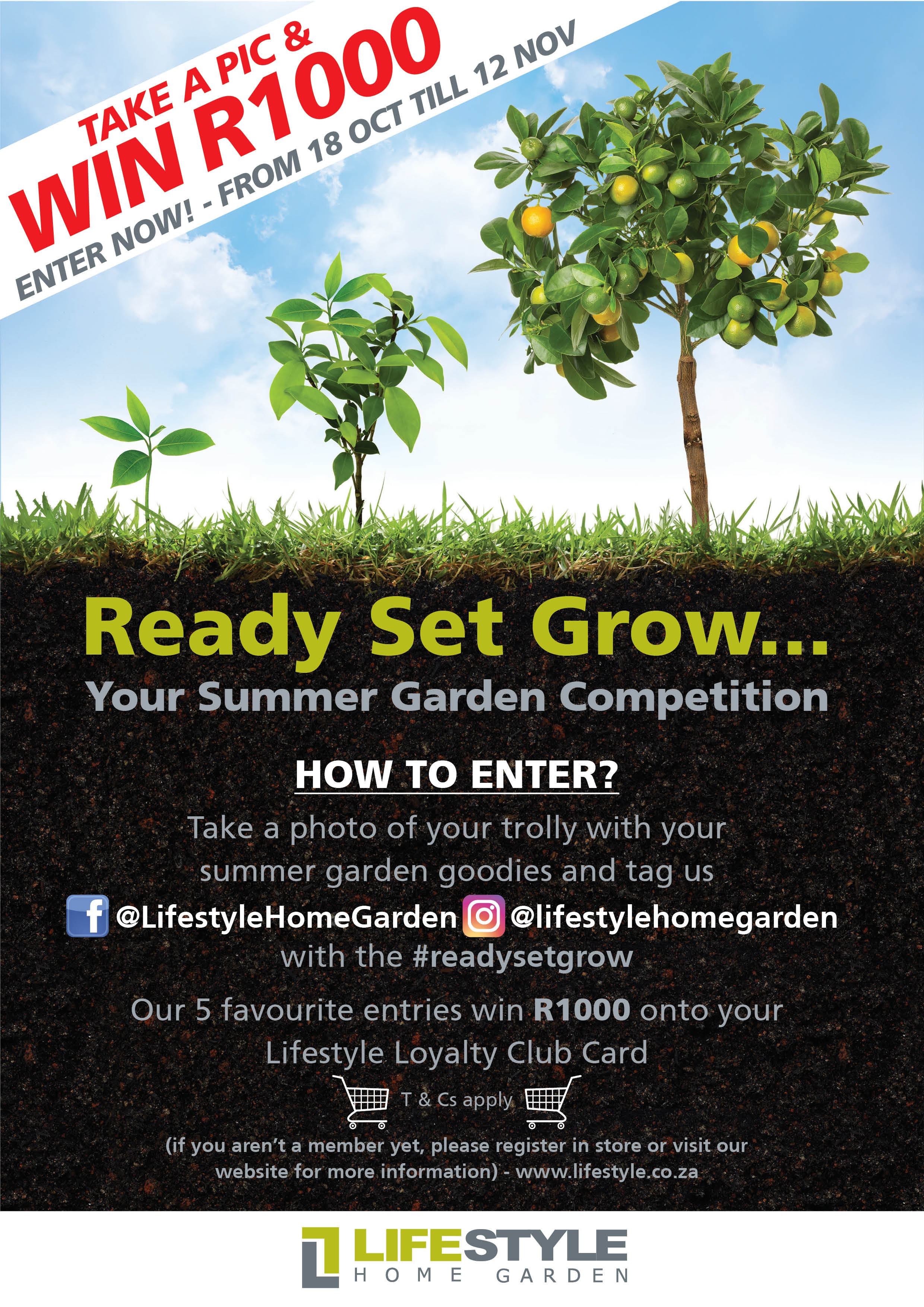 Ready Set Grow Competition with Lifestyle Home Garden Nursery and Plant Shop Johannesburg