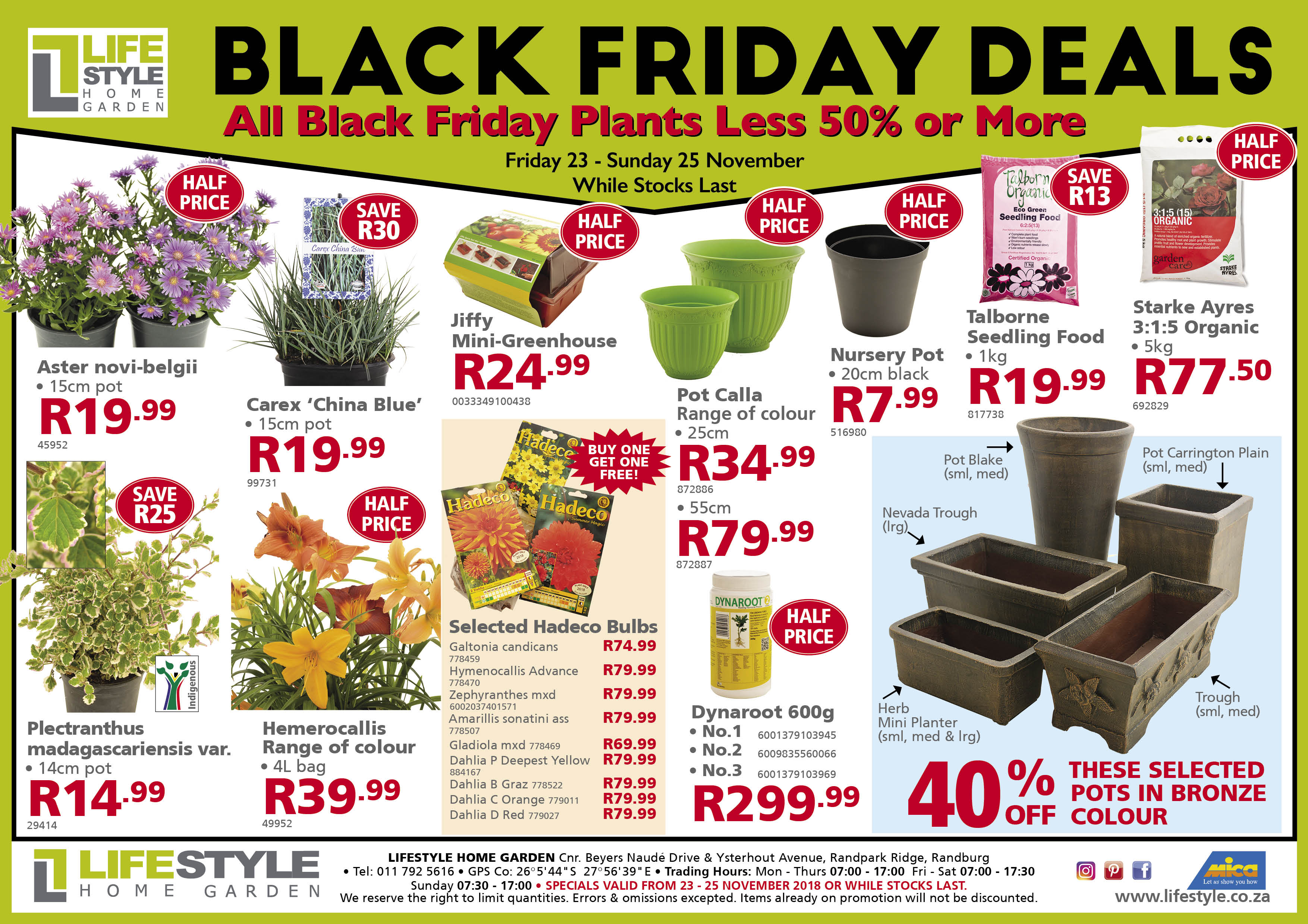 black friday lifestyle home garden nursery plant shop johannesburg gauteng